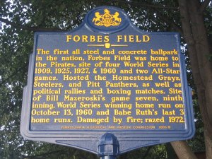 Forbes Field Historic Landmark Plaque